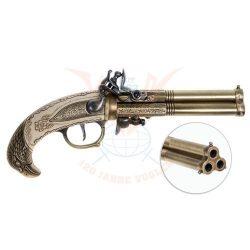 Flintlock pisztoly 3-csövű