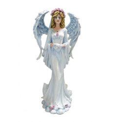 Fehár angyal rózsa koszorúval