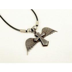 Katolikus kereszt angyal szárnyakkal medál