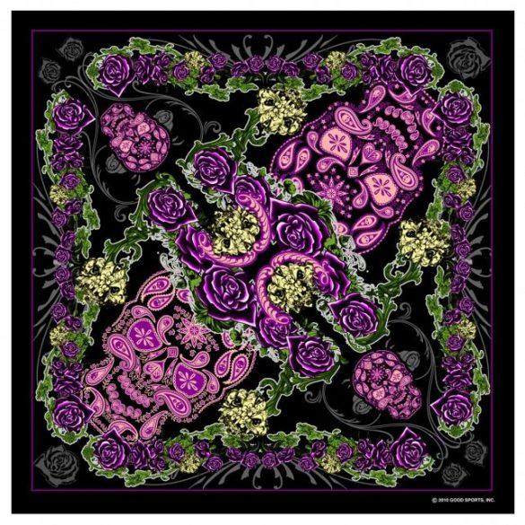 Virágos-koponyás Szövet kendő