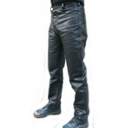 Sima fekete bőrnadrág