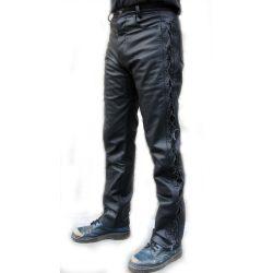 Fűzős fekete bőrnadrág
