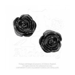 Romantikus fekete rózsa fülbevaló/ pár