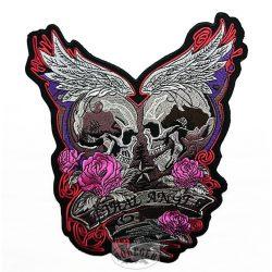 Szárnyas rózsás koponya felvarró