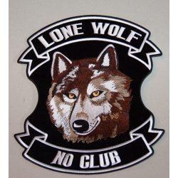 Lone Wolf No Club feliratú Vasalható felvarró