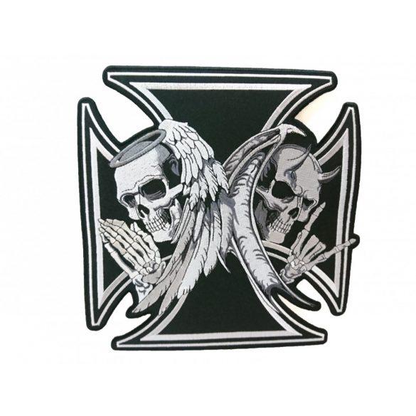 Vaskereszt felvarró (Angyal és ördög koponyával)