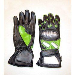 Protektoros zöld hosszú bőrkesztyű