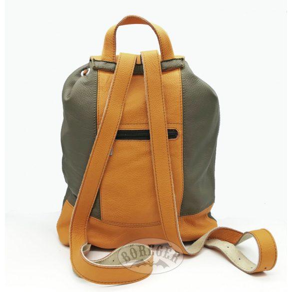 Valódi bőr hátitáska /Kheki-narancs/
