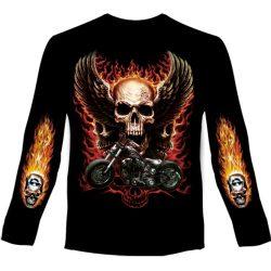 Flaming Skull hosszú ujjú póló