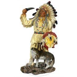 Indián törzsfőnök farkassal