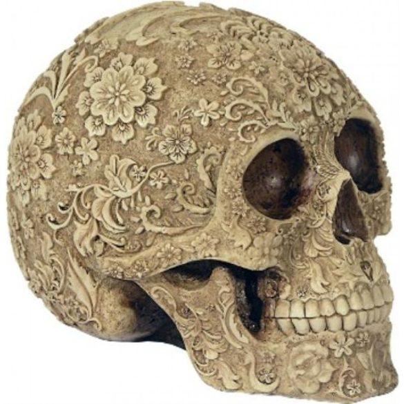 Virágmintás koponya/Cukor koponya/