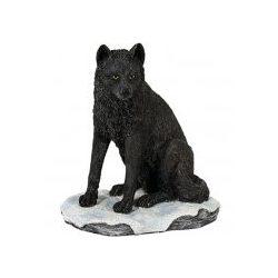 Fekete farkas kölyök szobor