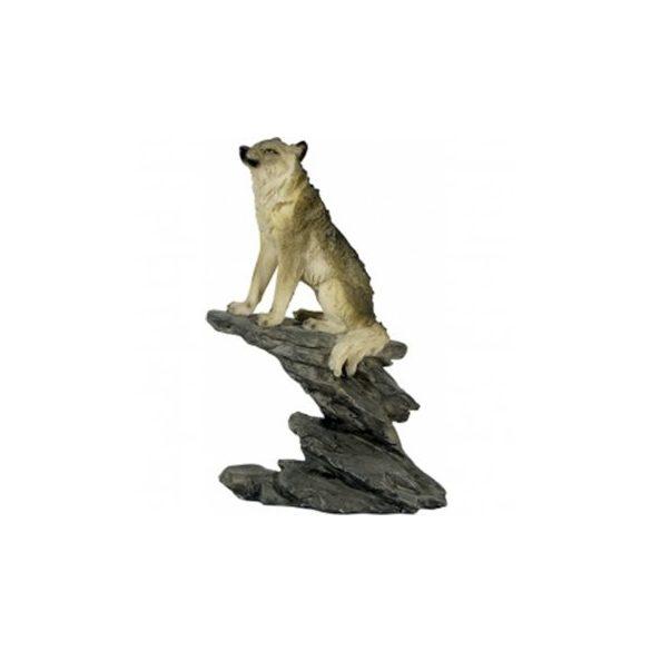 Sziklán ülő farkas