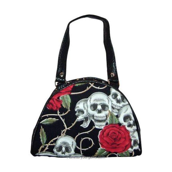 Koponyás rózsás kézi táska