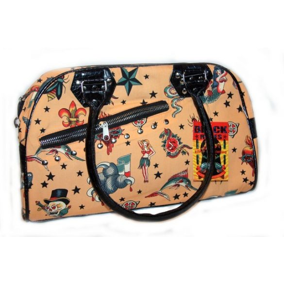 Pin-up/tengerészmintás női színes táska