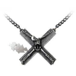 Kereszten csontváz nyaklánc/Crucifacation