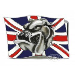 Angol zászlós buldogfej övcsat