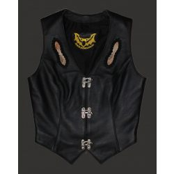 Women leather vest with snake skin