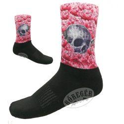Rózsaszínű rózsás, koponyás zokni