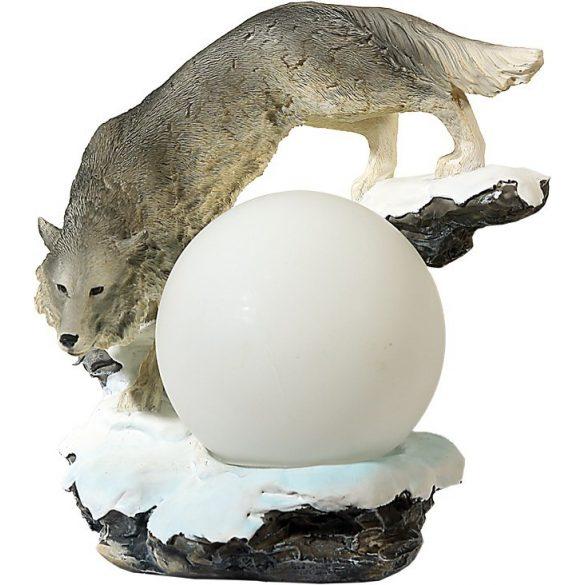 Farkas szobor (figura, térplasztika)(canis lupus) lámpa